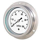 PIC - Model LP4-SB - Low Pressure Gauge, Stainless Steel Case, Center Back Mount with Front Flange