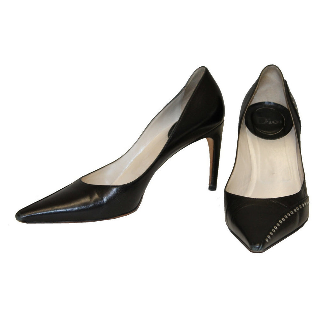Christian Dior Black Pointy Toe Heels, Size 39 5, UK 6 5 – The Live