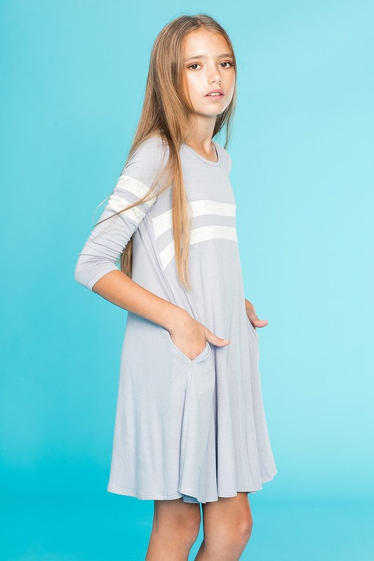 Pomelo - 3/4 Sleeve Tunic Dress with Side Pocket