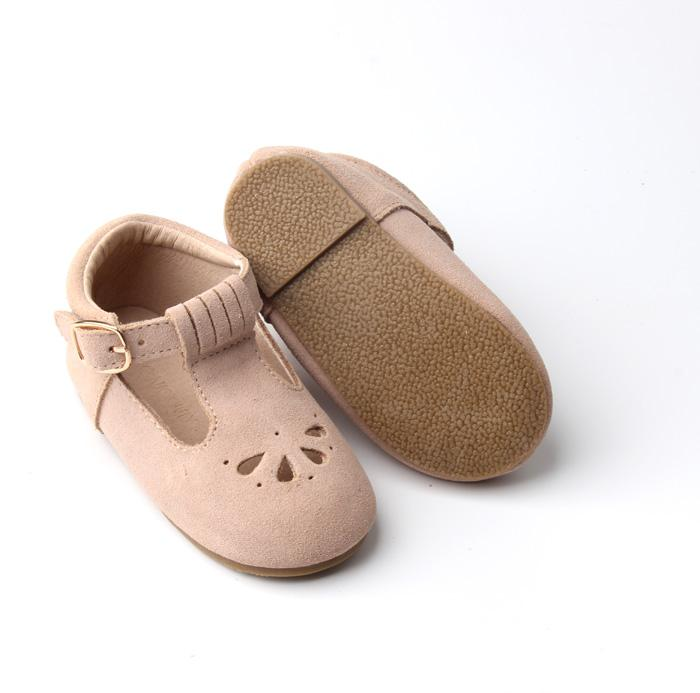 Consciously Baby - Suede Petal T-Bar | Color 'Dusty Rose' | Hard Sole