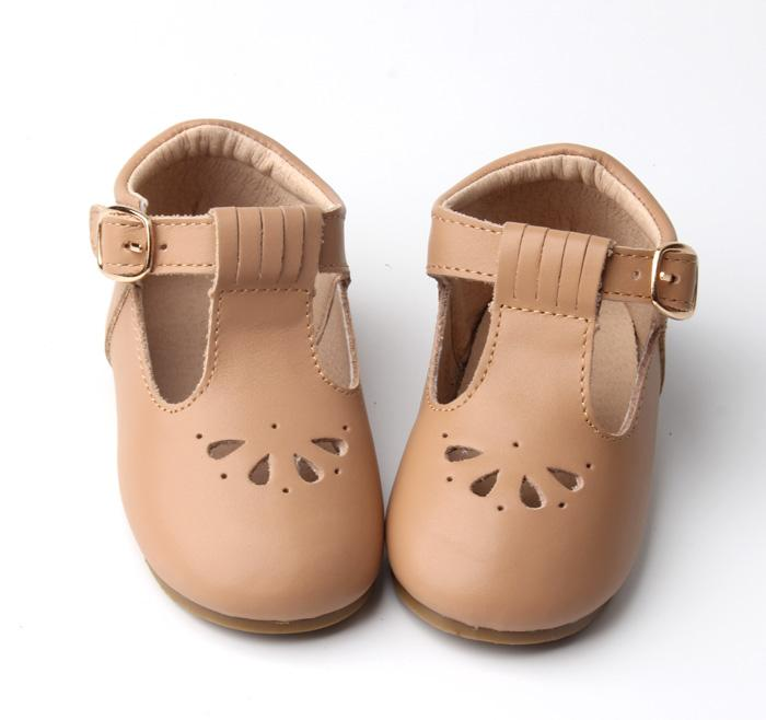 Consciously Baby - Leather Petal T-Bar | Color 'Peanut' | Hard Sole