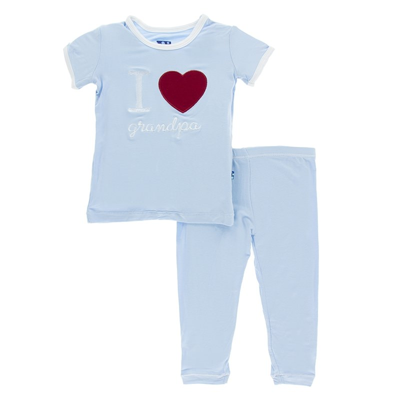 Kickee Pants - Holiday Short Sleeve Appliqué Pajama Set in Pond I Love Grandpa with Natural Trim