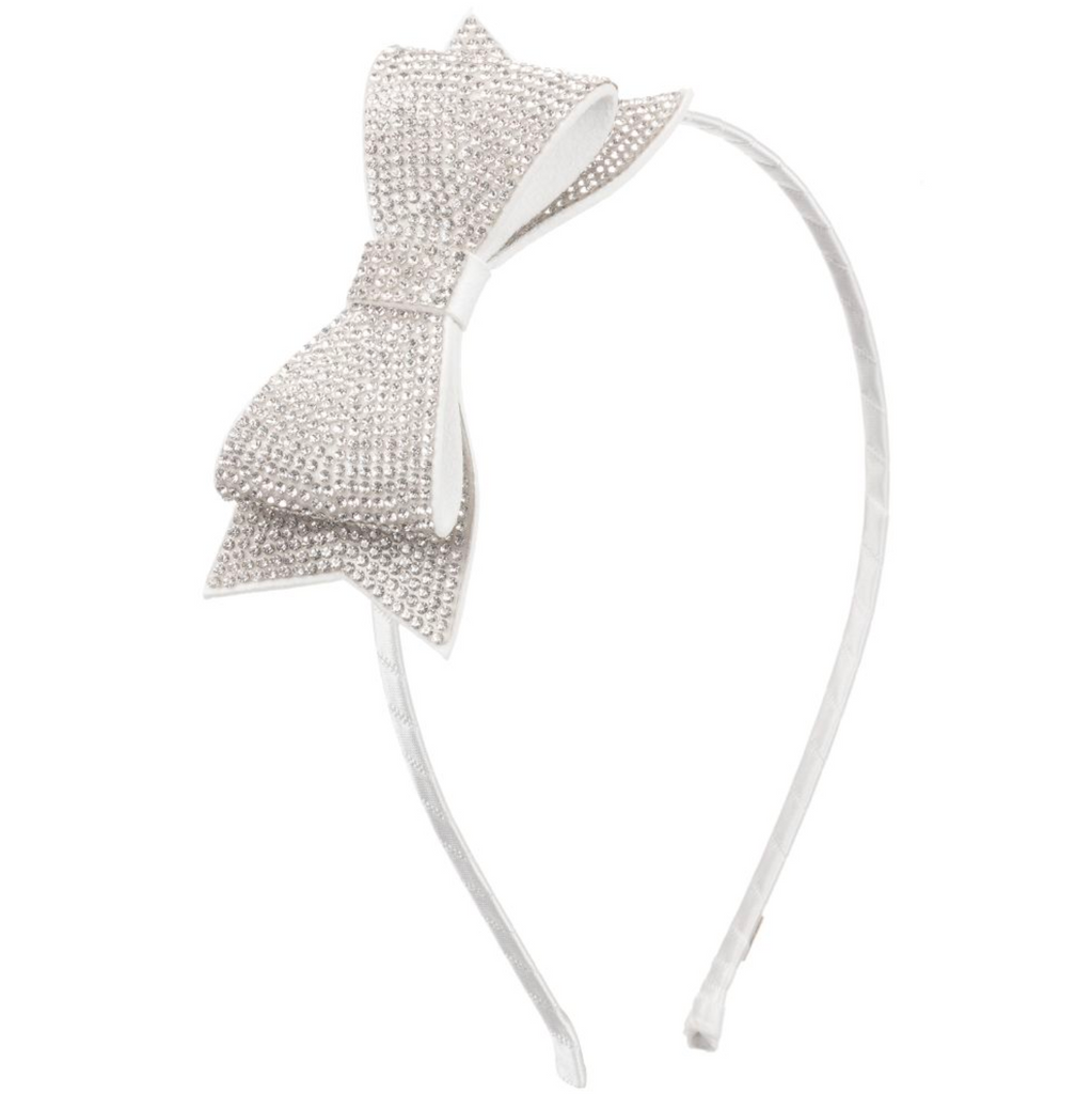 Bari Lynn - Double Crystal Bow Headband | Silver