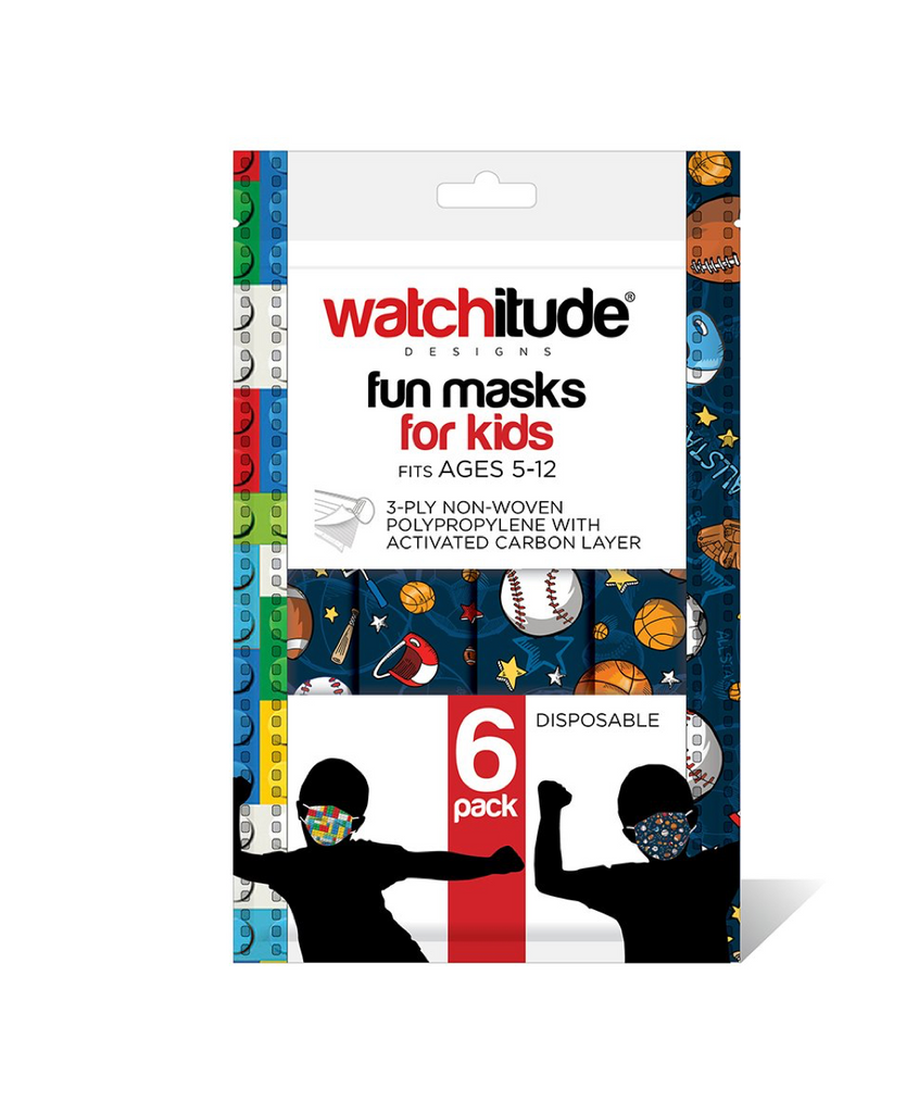 "Watchitude- Kids Fun Masks (6-pack) ""Build Up"" & ""Sports"" Designs"