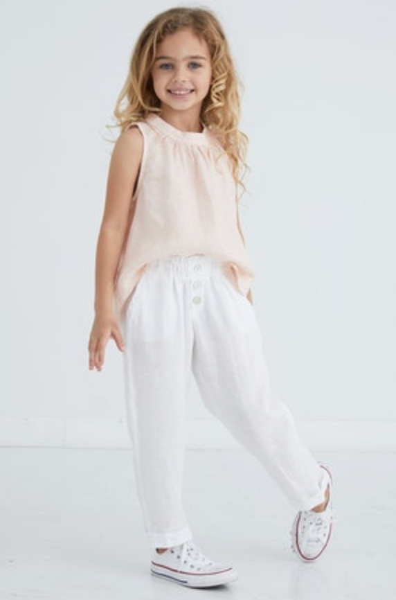 Bella Dahl - Button Fly Elastic Pant: White
