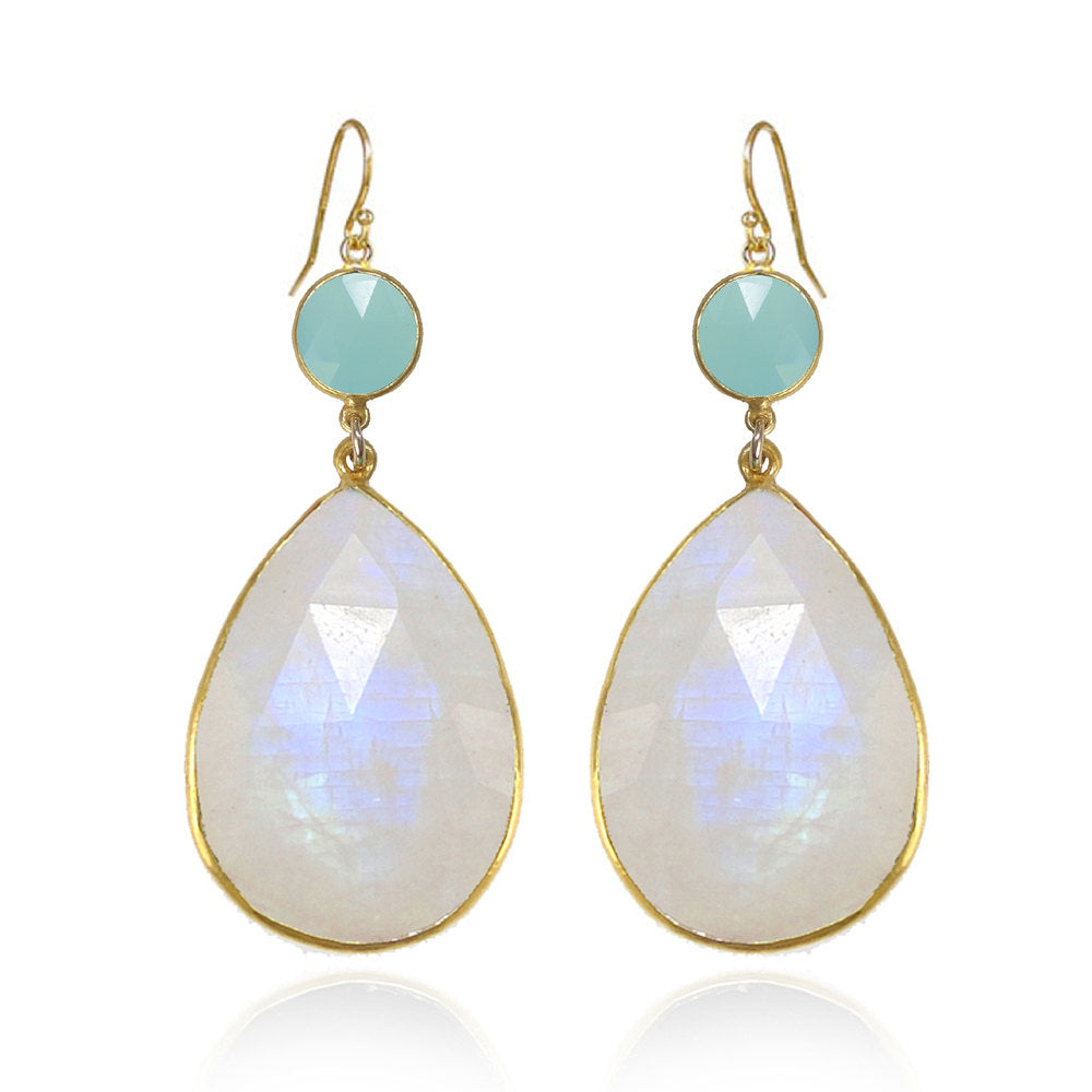 Moonstone Earring - Aqua Chalcedony Earring - Dangle and Drop Earring - Tear Drop Earrings - Large Gemstone Earrings - Bridesmaid Earrings