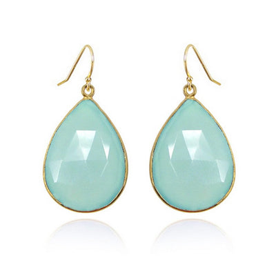 Aqua Chalcedony earrings - Sea Green Earring - Dangle and drop earring - Large Gemstone Earrings - Bridesmaid earring - Gold Silver earring