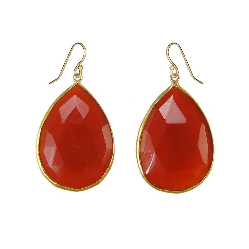 Carnelian Earrings - Gemstone earrings - Dangle and drop earring - Large Gemstone Earrings - Bridesmaid earring - Bezel set earring