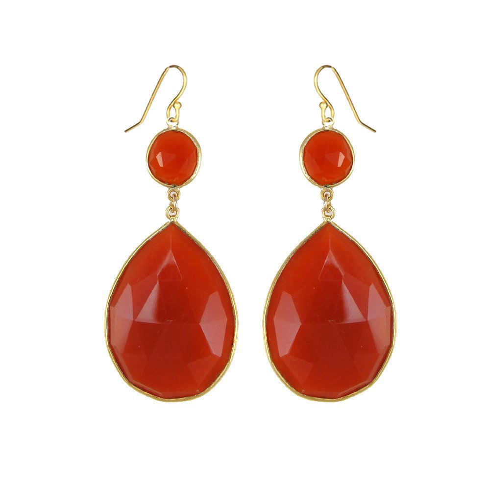Carnelian Earring, Orange Gemstone Earring, Summer Earring, Dangle Earring, Two tier earring, Large Gemstone Earring, Jewelry Gift for her