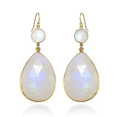 Moonstone Earring - Dangle and Drop Earring - Two tier earring - White Gemstone Earring - Bridesmaid Earring - Bridal Earring - Rainbow Gold