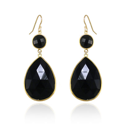 Black Onyx Earring - Two tier earring - Large Gemstone Earrings - Bridesmaid Earrings - Bridal Earrings - Bezel set earring