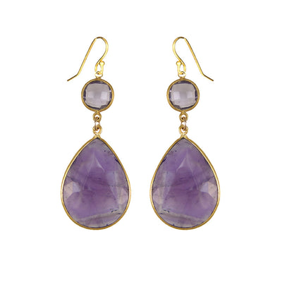 Amethyst Earring - Two tier earring - Large Gemstone Earrings - Bridesmaid Earrings - Bridal Earrings - Bezel set earring