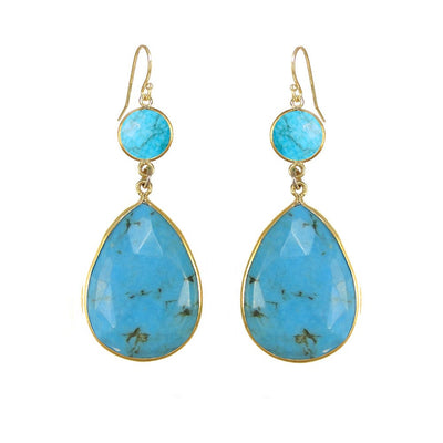 Turquoise Earring - Two tier earring - Large Gemstone Earring - Bridesmaid Earring - Bridal Earring - Bezel set earring- Blue stone Earring