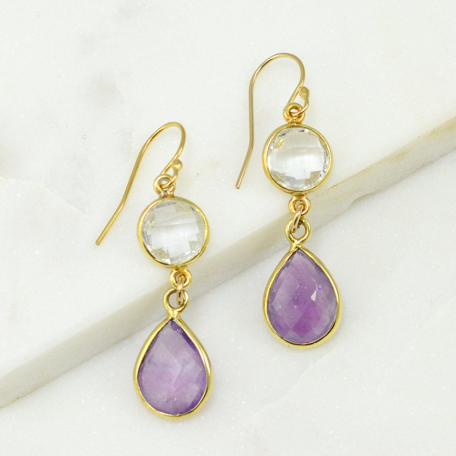 Purple Amethyst Earring, Clear Quartz Gold Earring, Tear Drop Earring, Two tier earring, Bezel Drop Earring, Bridesmaid Earring, Silver Gift