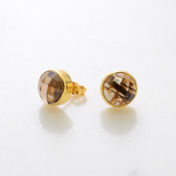 Smoky Quartz Studs - Post Earrings - Studs Earrings - Gold Studs - Gemstone Earrings Studs - Round Studs - Stone Stud Earrings - Small Studs