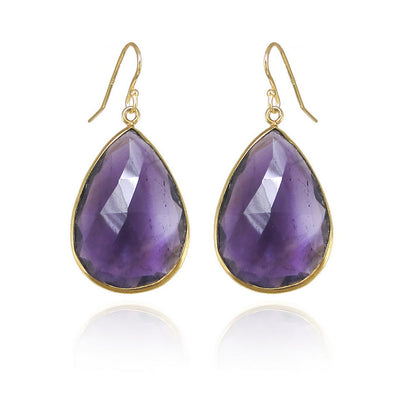 Amethyst earring, Purple Amethyst Earring, Gemstone earring, Bridesmaid Earring, Birthstone earring, Teardrop Sterling Silver Earring