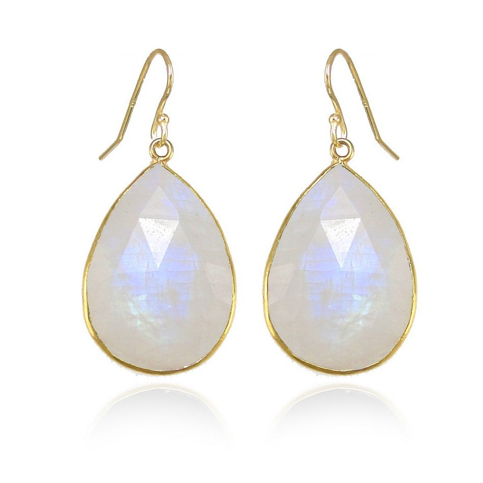 Simple Everyday Earring Moonstone Earring Rainbow Moonstone June Birthstone Dangle Drop Earring Gold Silver Earring Tear drop shape earring