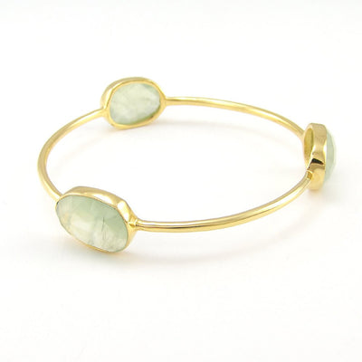 Prehnite Bangle - Gemstone Bangle Bracelet - Stacker Bangle - Multi Colored Bangles - Stacking Bangles - Gold Bangle