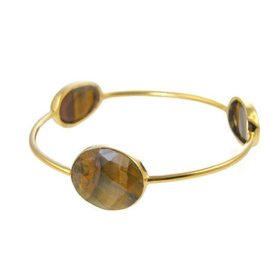 Tigers Eye Bangle - Gemstone Bangle Bracelet - Stacker Bangle - Multi Colored Bangles - Stacking Bangles - Gold Bangle