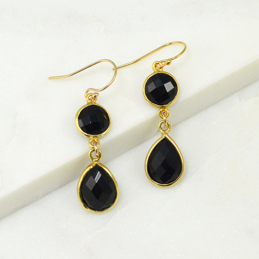 Black Onyx Earring, Clean Modern Earring, Gold Earring, Double Drop Earring, Two tier earring, Bezel Drop Silver Earring, Bridesmaid Gift