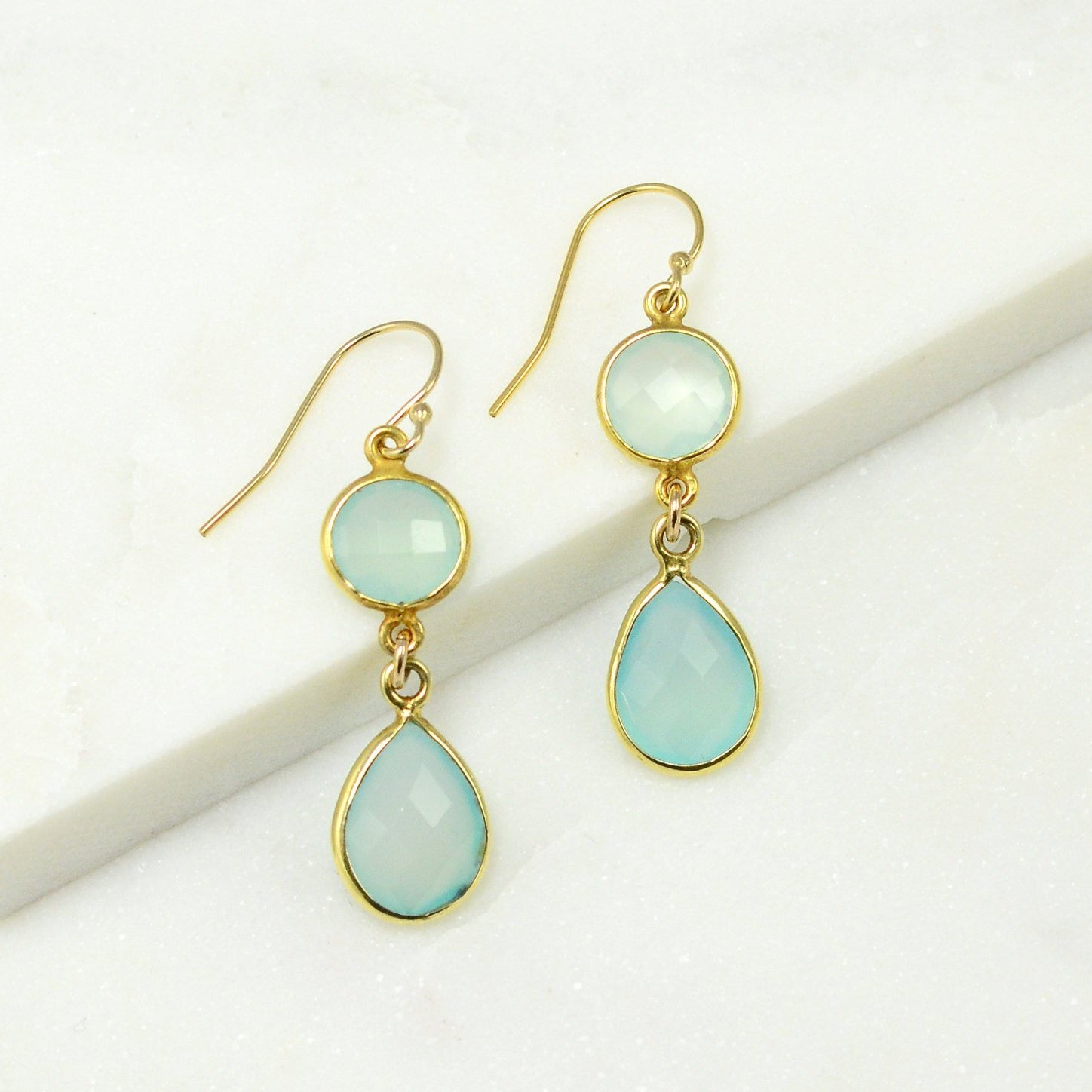 Aqua Chalcedony Earring - Color Gemstone Earrings - Dangle and Drop Earring - Two tier earring - Bezel Drop Earrings - Bridesmaid Earrings