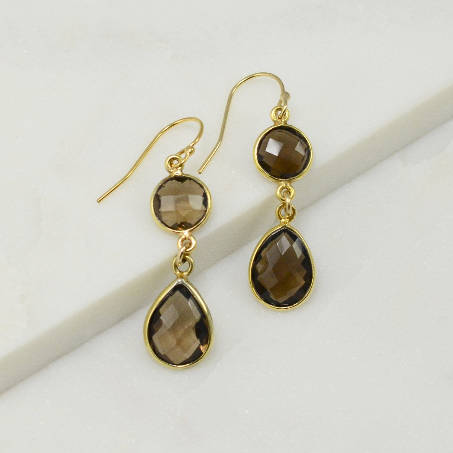 Smoky Quartz Earring - Color Gemstone Earrings - Dangle and Drop Earring - Two tier earring - Bezel Drop Earrings - Bridesmaid Earrings