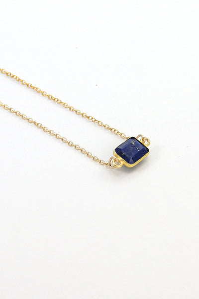 Lapis Necklace, Navy Blue Gemstone Necklace, Floating Necklace, Gold Necklace, Tiny Stone Layered Necklace, Dainty 14K Gold Filled Necklace