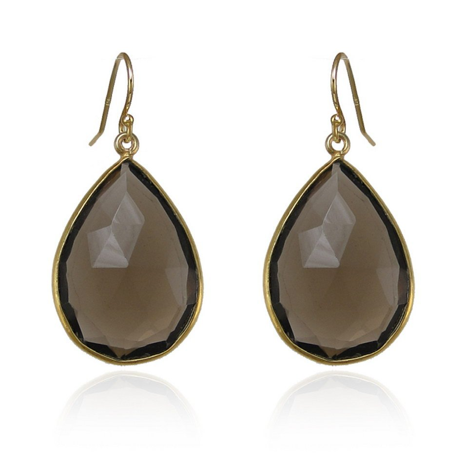Smoky Quartz earring- Smoky Topaz Earring- Teardrop Silver- Gold Filled Earring - Gold Earring - Large Gemstone Earring - Bezel set earring