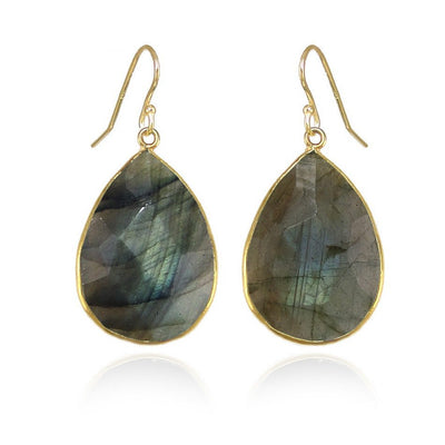 Labradorite Earring, Large Faceted Teardrop Labradorite, Labradorite Earrings in gold, Gold Framed, Flash Gemstone, Gift for Bridesmaid