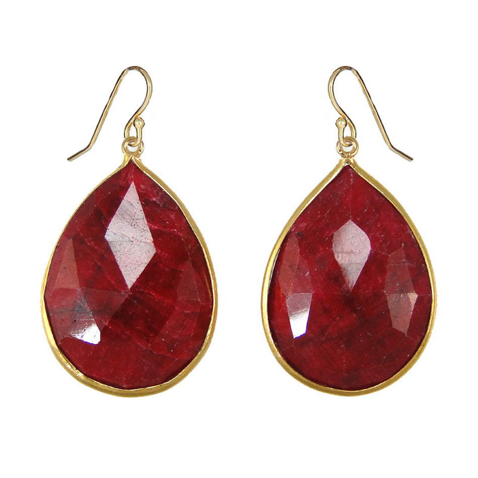 Ruby Earrings, Red Raw Ruby Earring, July Birthstone, Gold Filled Wires, Ruby Jewelry, Large Ruby Earring, Drop Earring,Bezel set earring