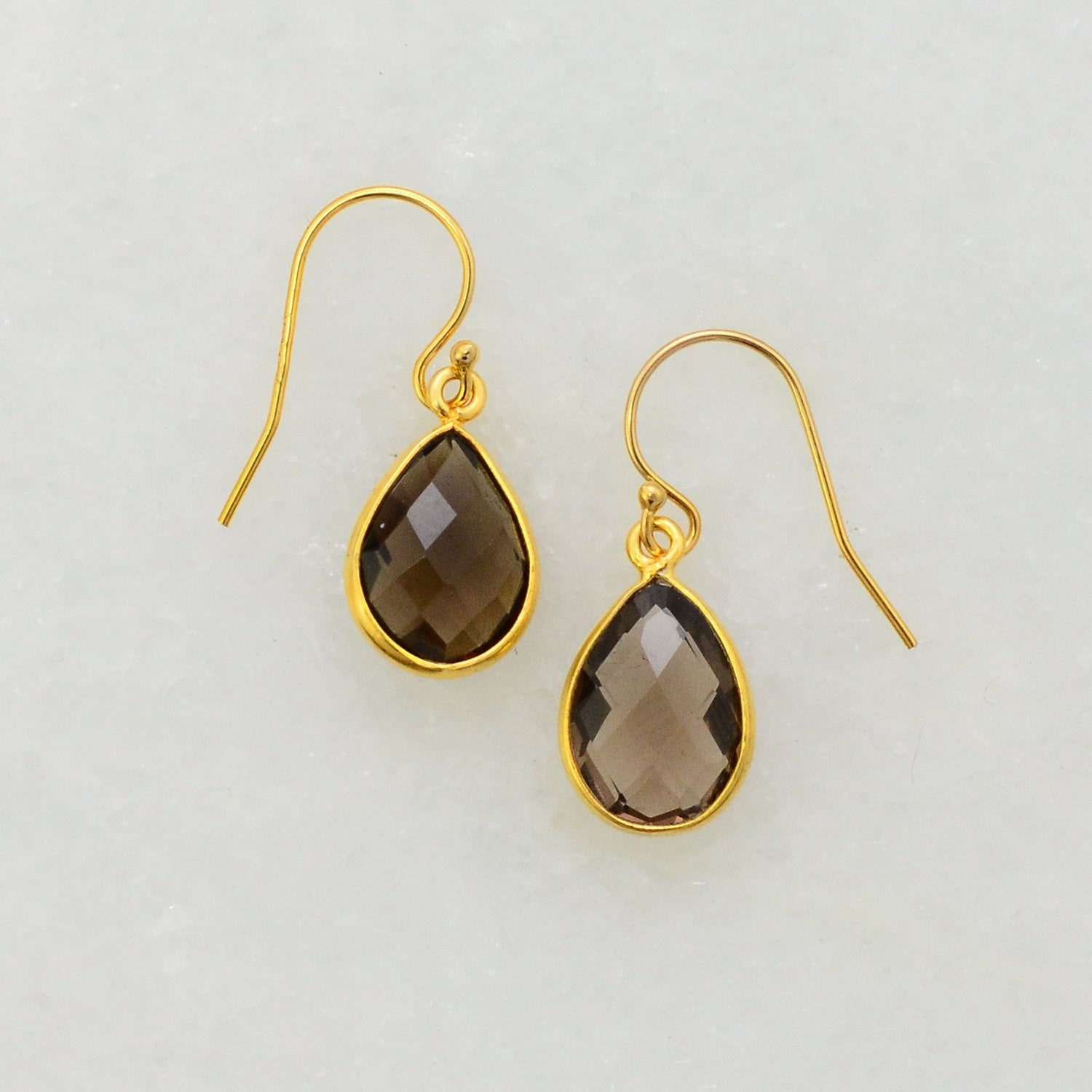 Smoky Quartz Earring - Smoky Silver Earring -Bridesmaid Earring - Gemstone Earring - Dangle Earring - Bezel Set earring - Bezel Drop Earring