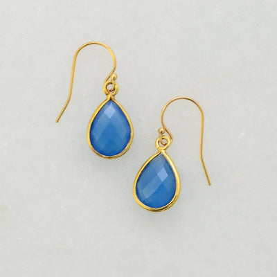 Blue Chalcedony Gold Earring, Silver Gemstone Earring,  Dangle Earring, Bezel Set earring, Bezel Drop Modern Earring, Bridesmaid Earring