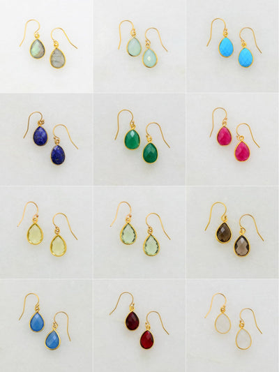 Ruby Gold Earring - Cute Delicate Earring - Wedding Jewelry - Minimal Earring - 925 Silver Earring - Dainty Earring - Small Drop Earring