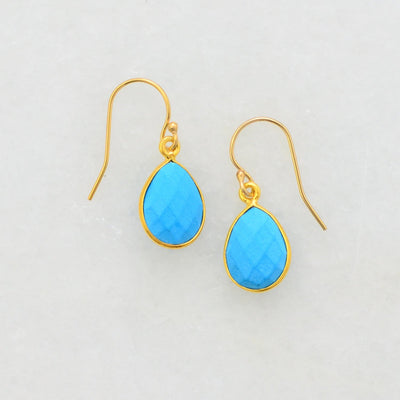 Turquoise Earring Small Delicate Earring Gift for her Minimal Earring Small Cute Earring  Dangle and Drop Earring Dainty Earring Gold Filled