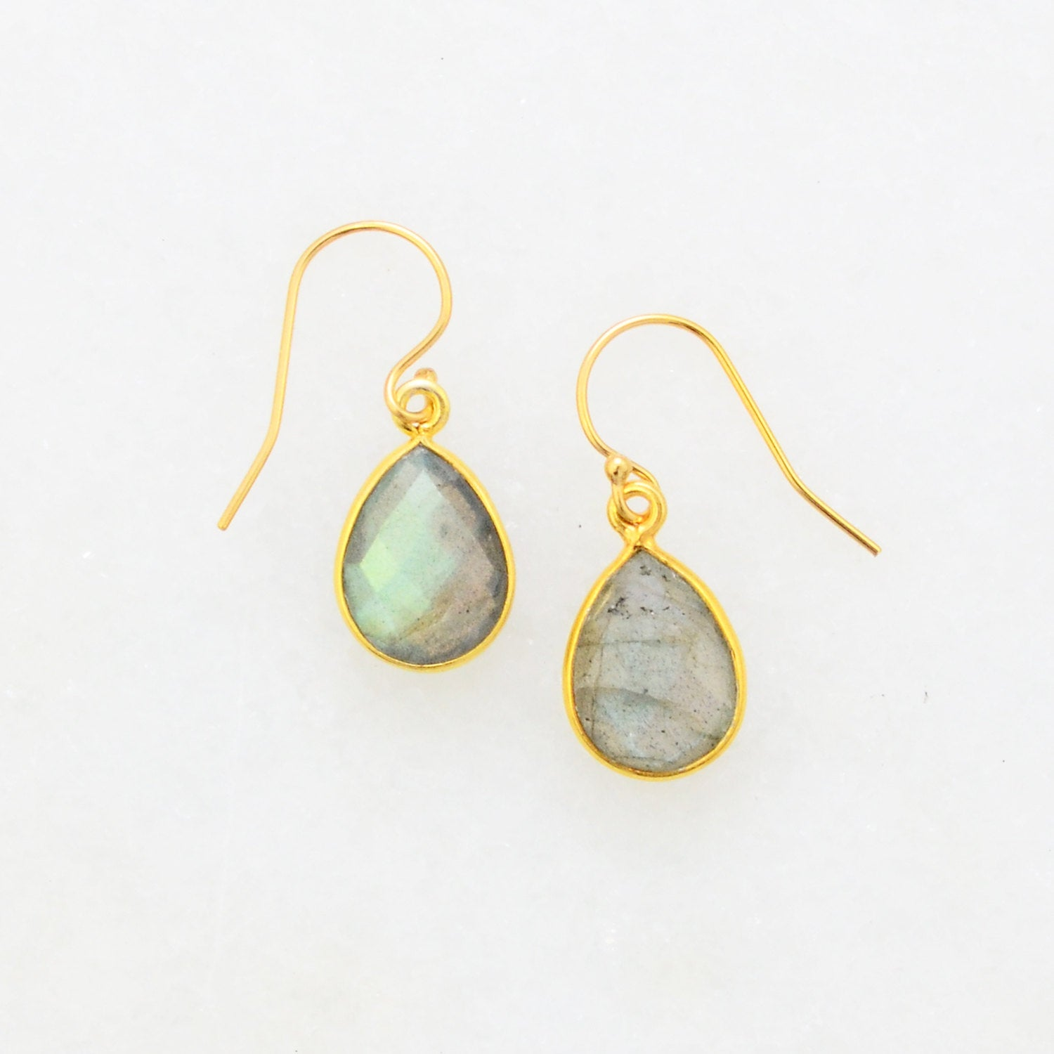Labradorite Gold Earring - Blue Flash Earring - Teardrop Dangle Earring - Labradorite Silver Earring - Small Cute Earring - Bridesmaid Gift