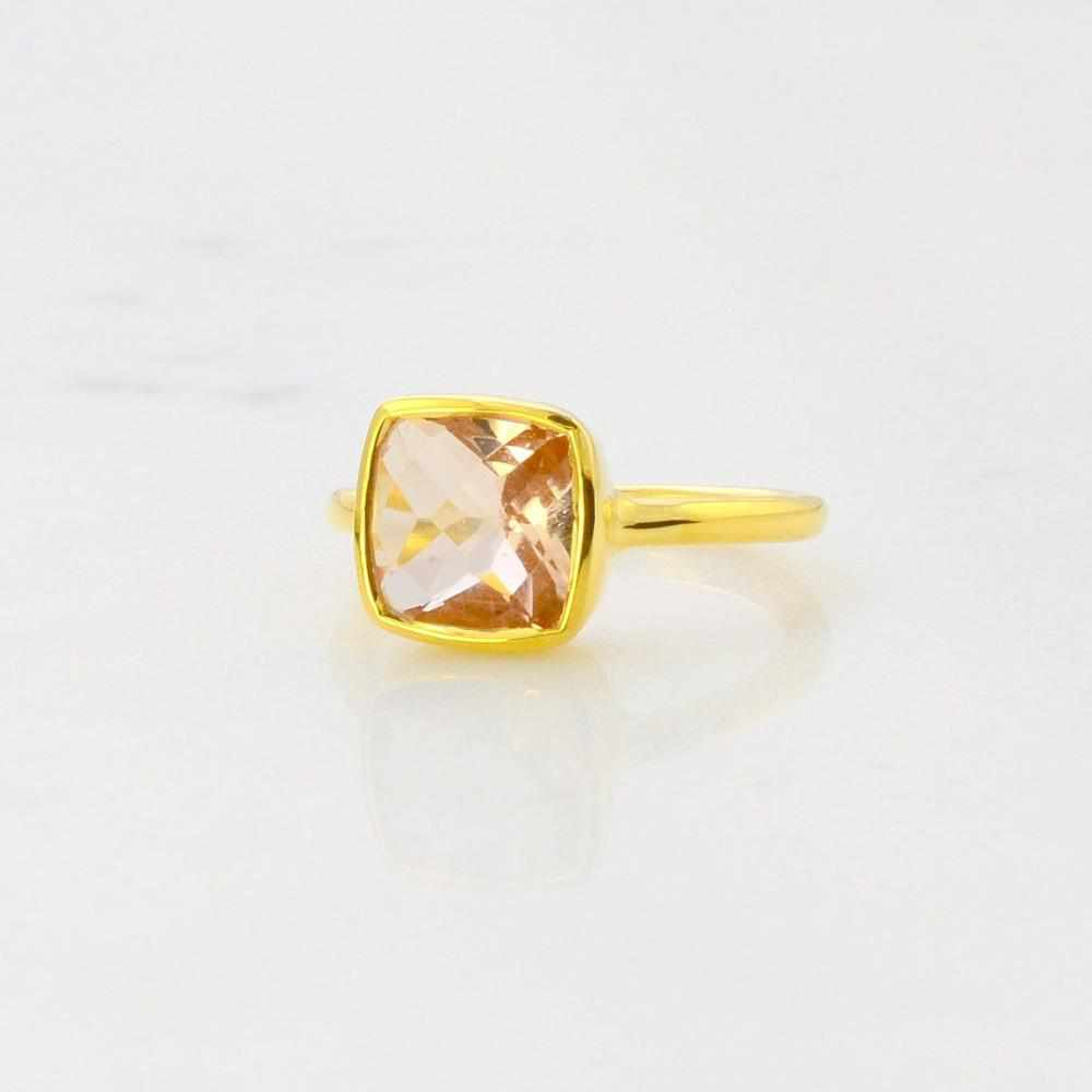 Morganite Ring - Peach Tone Ring - Solitaire Ring - Cushion cut Ring - Gemstone Ring - Stackable Ring - Bridesmaid ring