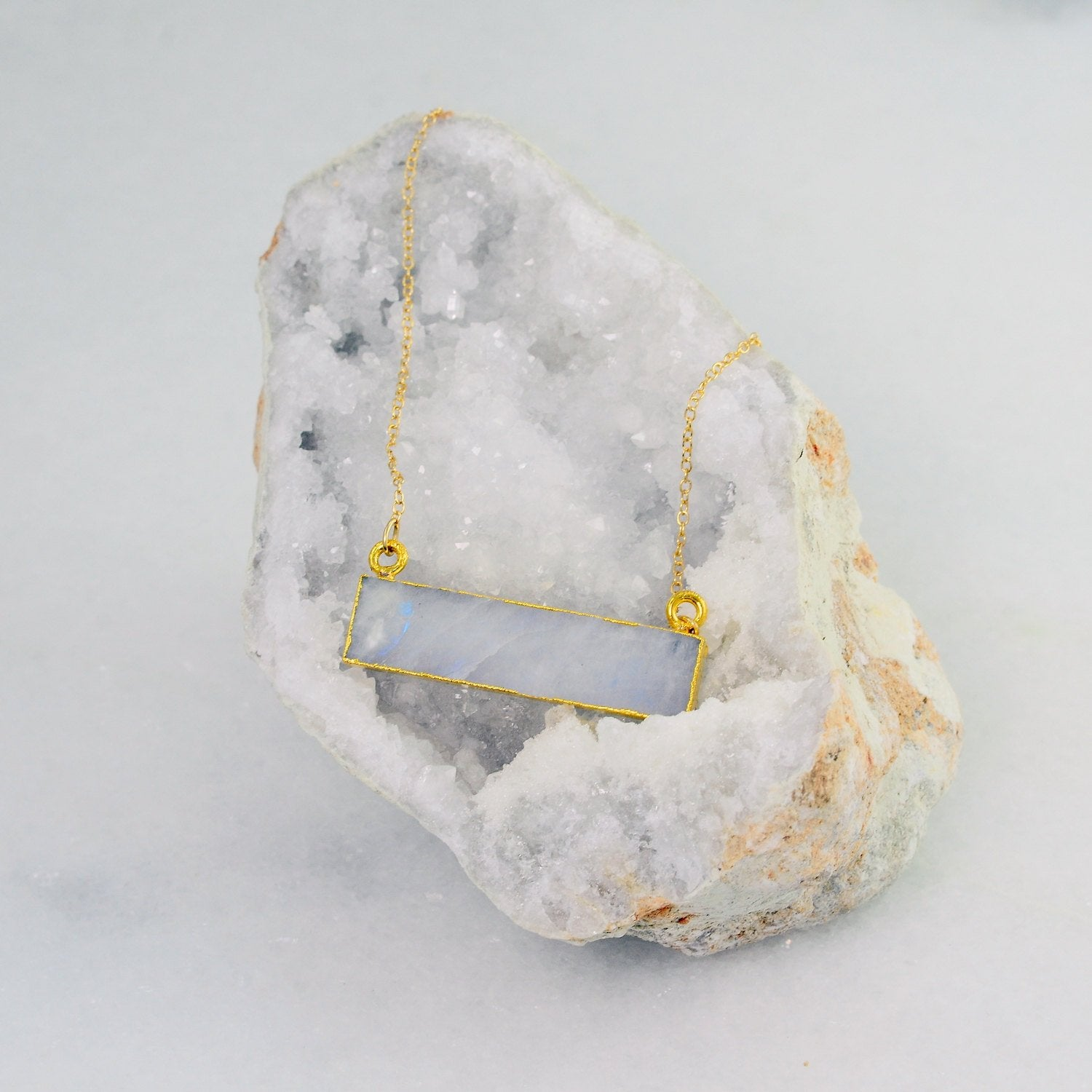 Moonstone Necklace - Gemstone Bar Necklace - Rectangle Stone Necklace - Statement Necklace - Raw Stone Necklace