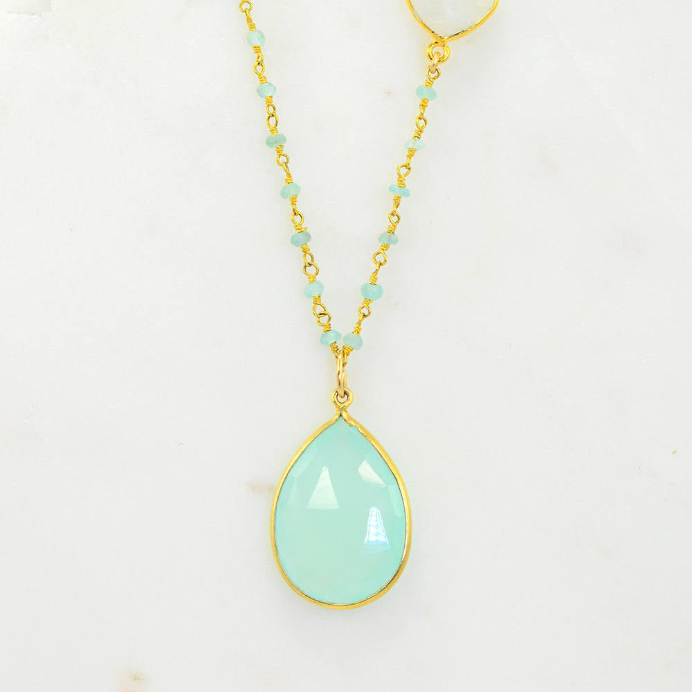 Aqua Chacedony Aqua Seafoam Necklace - Teardrop Necklace - Mother's Necklace - Bridesmaid Necklace - Wire Wrapped Necklace - Bridal Jewelry
