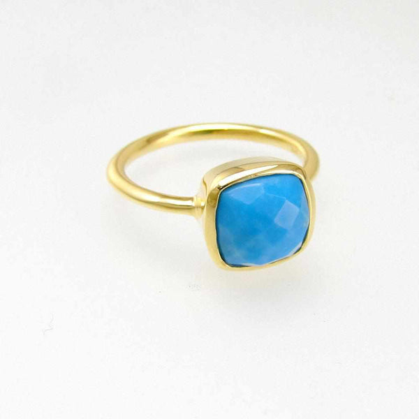 Turquoise Ring - Sleeping Beauty Turquoise - Birthstone Ring - Gold Ring - Cushion Ring - Gemstone Ring - Stackable Ring - Bridesmaid ring