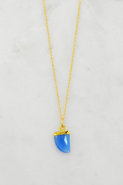 Blue Chalcedony Necklace - Mothers day gift - Gemstone tooth Necklace - Minimalist Necklace - Cute Layering Gold Necklace - Gold Necklace