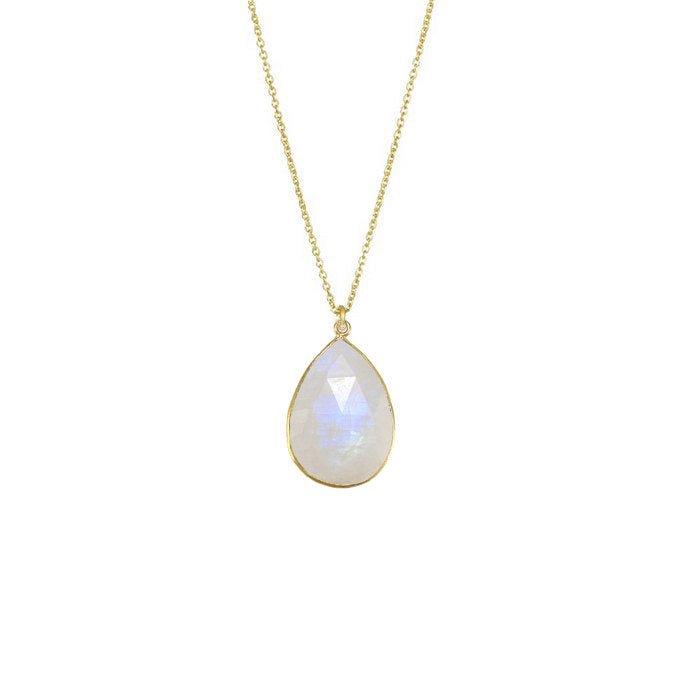 Rainbow Moonstone Necklace, Wedding Necklace, White Gemstone Pendent, Bridal Necklace, June Birthstone Necklace, Bezel Set Necklace, Gift