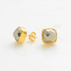 Fools Gold Earring, Pyrite Stud Earrings, Square Post Earrings, Gemstone Studs,  Cushion Studs,  Gold Stud Earrings , Post Earrings
