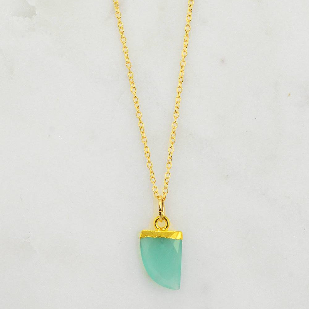 Gemstone tooth Necklace - Aqua Chalcedony Necklace - Mothers day gift -  Cute Layering Gold Necklace - Minimalist Necklace