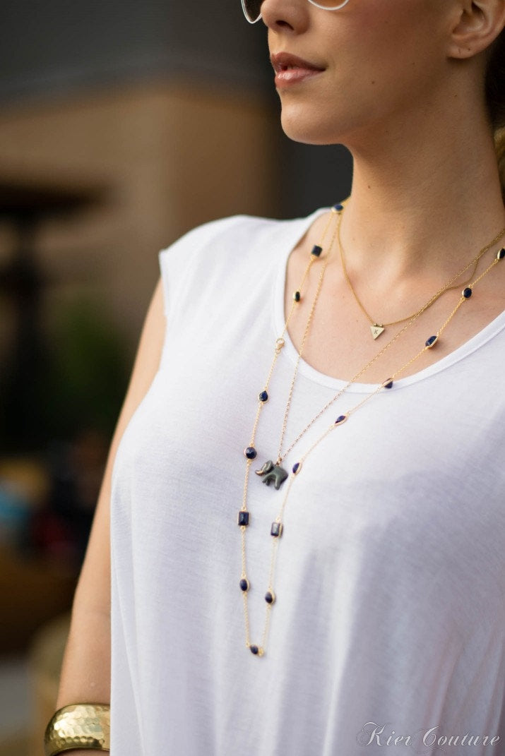 Layered Long Necklace - Gemstone  Layered necklace - Smoky Quartz Necklace - Stationed Necklace - Gem Necklace - Layering Necklace