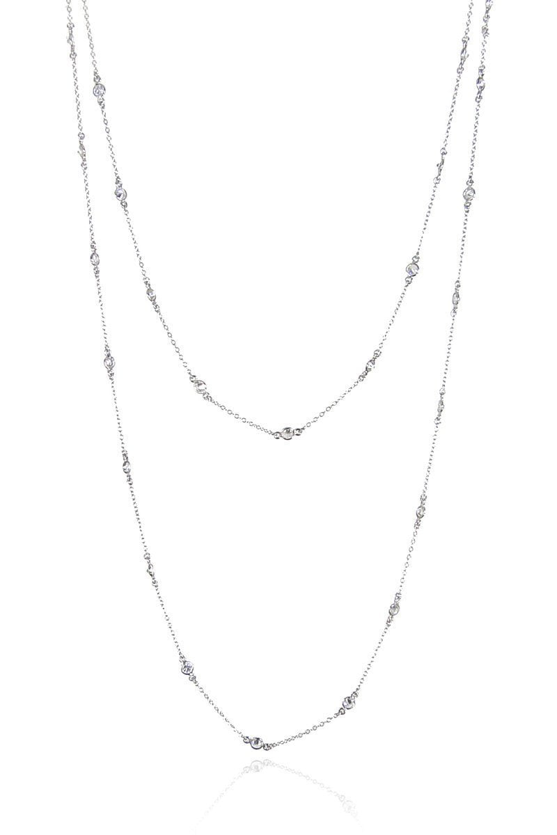 Long Crystal Necklace - Long Layered necklace - Diamonds by yard necklace - Layered CZ Necklace - Clear Quartz Necklace