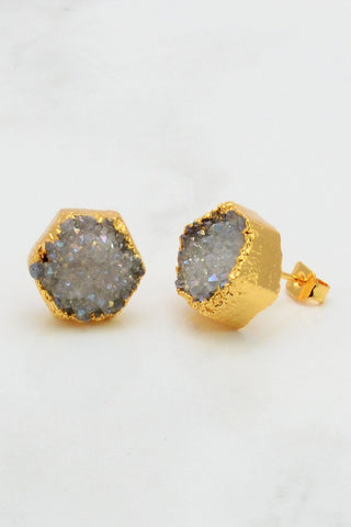 Druzy Studs Earring - Druzy Post Stud -  Raw Stone stud - Druzy Bridesmaid studs - Bridesmaid gifts - Gift for her - Gift for mother