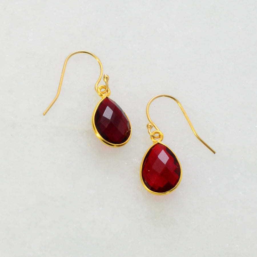 Garnet Gemstone Earring - Color Gemstone Earrings - Dangle Earring - Bezel Set earring - Bezel Drop Earrings - Bridesmaid Earrings