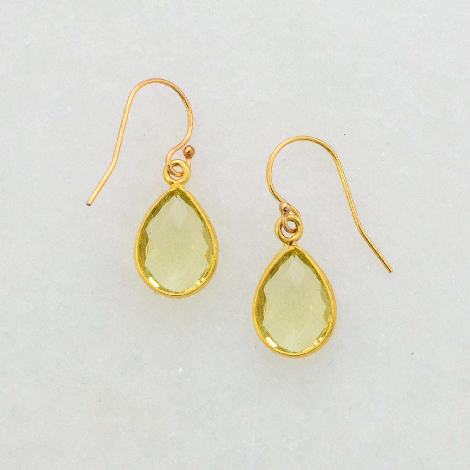 Lemon Quartz Earring - Minimalist Earring - Gold Quartz Earring - Ear Hook - Small Cute Earring - Dangle and Drop Earring - Everyday Earring