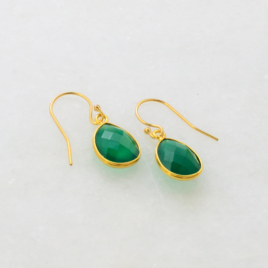 Green Onyx Earring, Emerald Earring, Everyday Earring, Simple Earring, Minimal Earring, Gift for Her, Small Cute Earring, Dangle and Drop