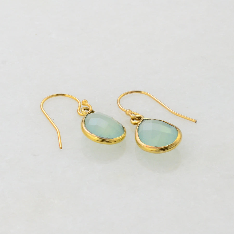 Aqua Chalcedony Earring - Mint Aqua Chalcedony Aquamarine - Bridal Earring - Simple Everyday Earring - Small Gold Earring -Sea green Earring